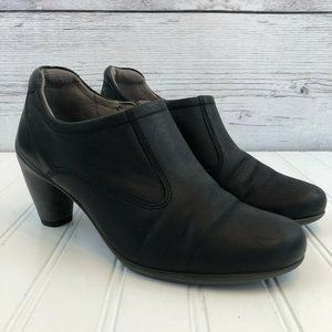 Ecco Leather Booties Women 37 US 6.5 Black Leather
